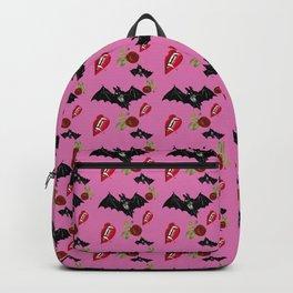 bat rose lips pink pattern Backpack
