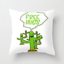 Cactus cacti free hug plant face smile saying funny gift Throw Pillow