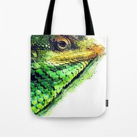chameleon Tote Bags featuring chameleon by jbjart