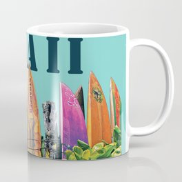 Hawaiian Surfboard Postcard Print Coffee Mug