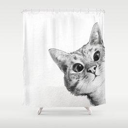 sneaky cat Duschvorhang