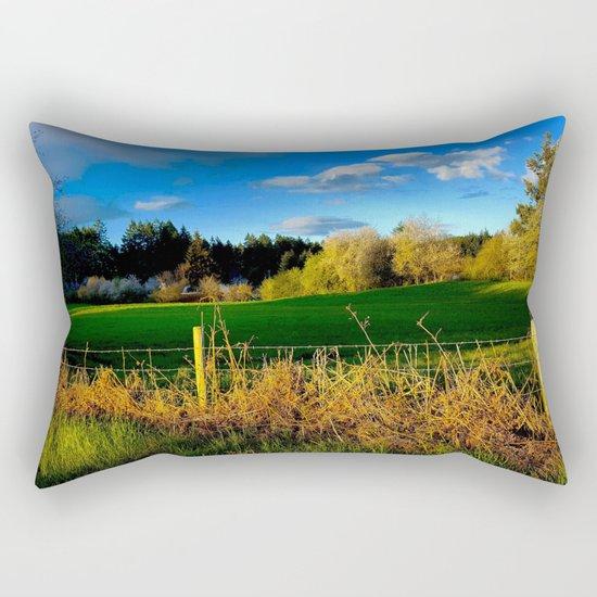 Golden Evening Light Across A Field Rectangular Pillow