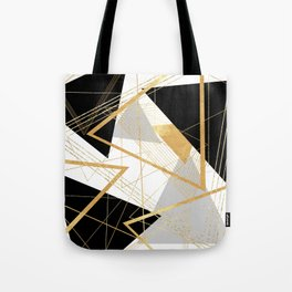 Black and Gold Geometric Tote Bag