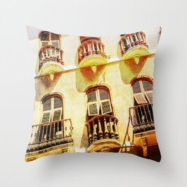 Gibraltar balconies Throw Pillow