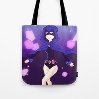 teen titans Tote Bags featuring [Teen Titans] Raven by samarasketch