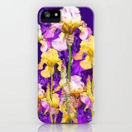 Contemporary Purple Yellow Iris Garden Art iPhone Case