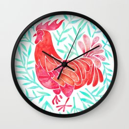 Le Coq – Watercolor Rooster with Mint Leaves Wall Clock
