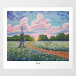 Blue bonnet field Art Print