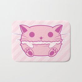 Pink Kawaii Cat Macaroon Bath Mat