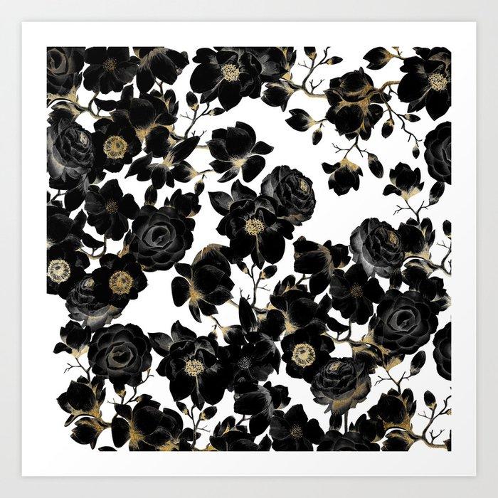 Modern Elegant Black White and Gold Floral Pattern Kunstdrucke