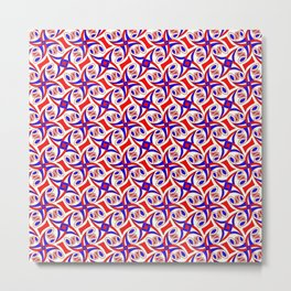 Red White and Blue Pinwheel Festive Summer Fun Country Decor Southwestern Design Pattern Metal Print