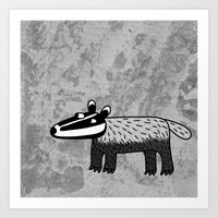 badger Art Prints featuring Badger by Nic Squirrell