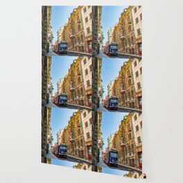 Tram in the historic district Wallpaper