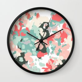 Ioro - painted abstract coral minimal mint teal bright southern charleston decor colors Wall Clock