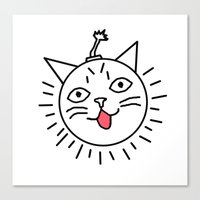 lil bub Canvas Prints featuring Sex Bub-omb by RadioFreeAgent