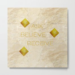 Ask believe receive beige tan marble and gold squares abstract typography design Metal Print
