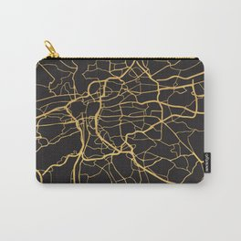 PRAGUE CZECH REPUBLIC GOLD ON BLACK CITY MAP Carry-All Pouch