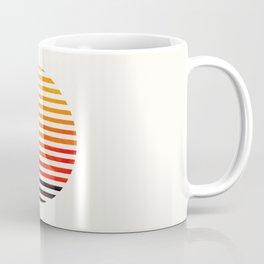 Mid Century Modern Minimalist Circle Photo Orange Staggered Stripe Pattern Coffee Mug