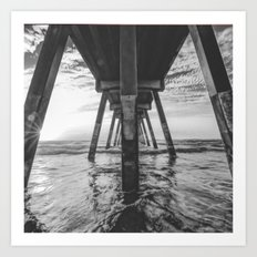 Beautiful Sunset Ocean Beach Scene (Black and White) Art Print