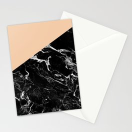 Modern elegant peach black marble color block Stationery Cards