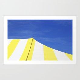 Minimalist Blue Yellow White Circus Tent Abstract Art Print