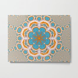 Victorian Turquoise Blossom Metal Print