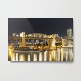 Burrard Bridge Vancouver Night Scene Metal Print