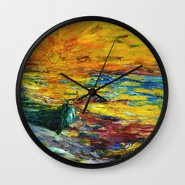 Late Summer Beach Sunset with waves and boat landscape painting by Emil Nolde Wall Clock