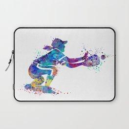 Girl Baseball Player Softball Catcher Colorful Watercolor Sports Artwork Laptop Sleeve