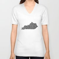 kentucky V-neck T-shirts featuring Typographic Kentucky by CAPow!