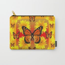 ORANGE MONARCH BUTTERFLIES & YELLOW SUNFLOWERS Carry-All Pouch