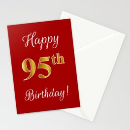 """Elegant """"Happy 95th Birthday!"""" With Faux/Imitation Gold-Inspired Color Pattern Number (on Red) Stationery Cards"""