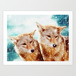 Lovely Wolf Couple Under the Snow Art Print
