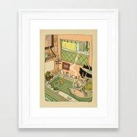bath Framed Art Prints featuring Bath by oculus-feline