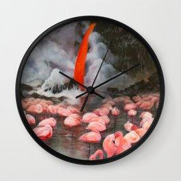 Flamingo Falls Wall Clock