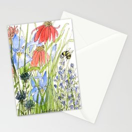 Botanical Garden Wildflowers and Bees Stationery Cards