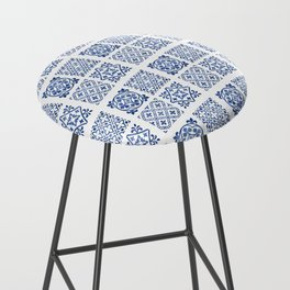 N50 - Antique Oriental Traditional Blue Moroccan Tiles Style Bar Stool