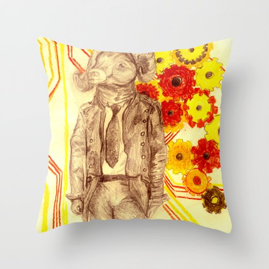 Steampunk Ram Throw Pillow