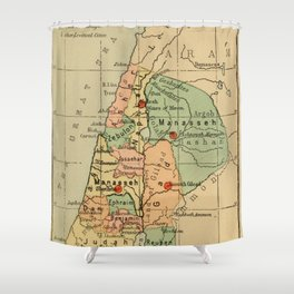 Map of Palestine Divided by the 12 tribes from 1889 Shower Curtain