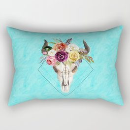 Geometric Boho Floral Skull Rectangular Pillow
