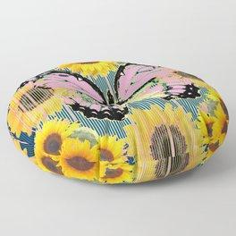 ABSTRACT PINK BUTTERFLY TEAL GARDEN SUNFLOWER Floor Pillow