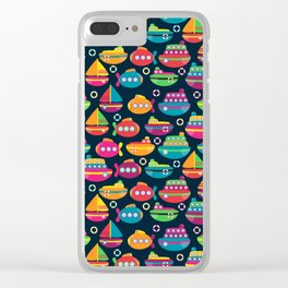 Cute and Colorful Boats and Submarines Clear iPhone Case