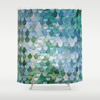 cat coquillette Shower Curtains featuring REALLY MERMAID by Monika Strigel