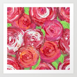Big Fat Pink Cabbage Roses Art Print