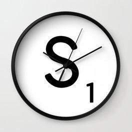 Letter S - Custom Scrabble Letter Tile Art - Scrabble S Initial Wall Clock