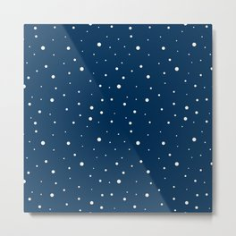 Small and big beige dots over blue Metal Print