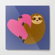 Sloth in love blue Metal Print