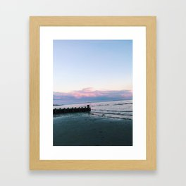 old saybrook town beach sunset photograph Framed Art Print