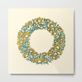 Floral Type - Letter O - Sunny Day Yellow Metal Print