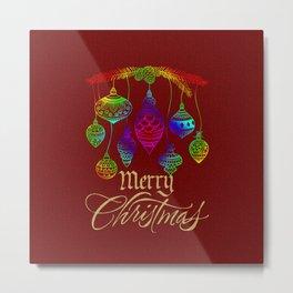 Rainbow Christmas Balls Merry Christmas Metal Print